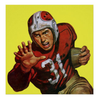 Vintage Sports, Football Player Posters