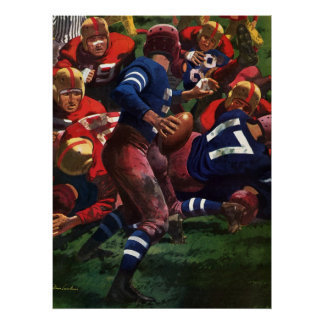 Vintage Sports Football Player Quarterback in Game Poster