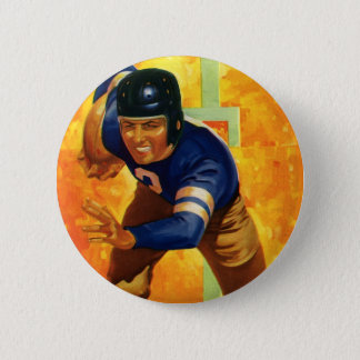 Vintage Sports Football Player Quarterback Running Button