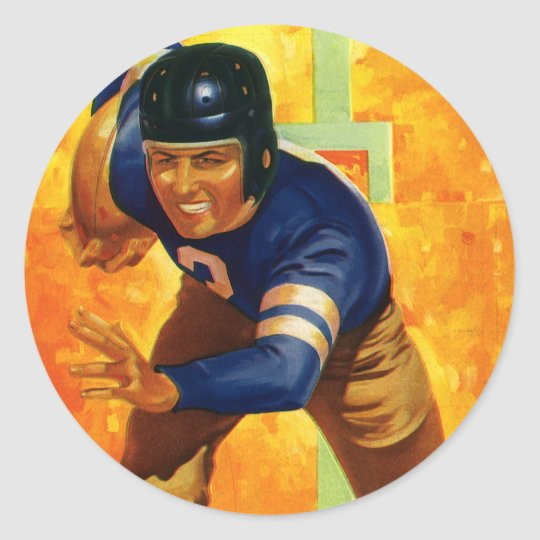 Vintage Sports Football Player Quarterback Running Classic Round Sticker