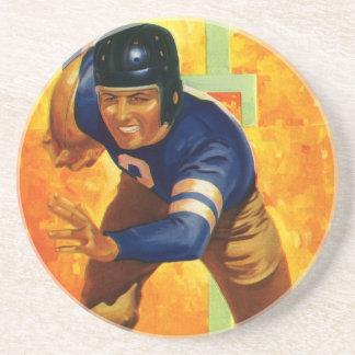 Vintage Sports Football Player Quarterback Running Coaster
