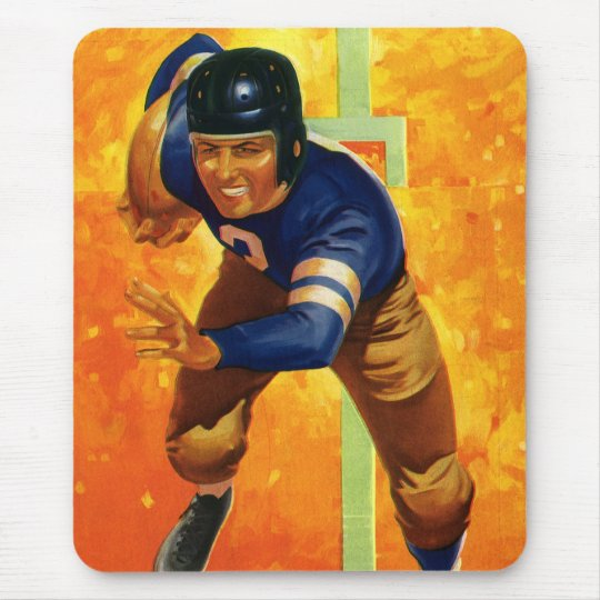 Vintage Sports Football Player Quarterback Running Mouse Pad