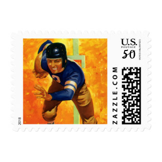 Vintage Sports Football Player Quarterback Running Postage