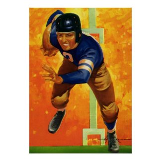 Vintage Sports Football Player Quarterback Running Poster