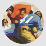 Vintage Sports, Football Player Round Stickers