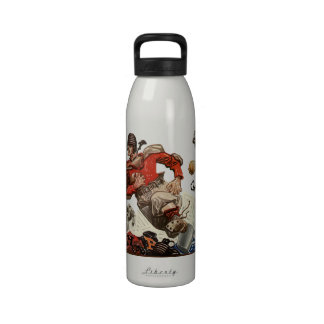 Vintage Sports, Football Player Running Reusable Water Bottles