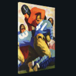 """Vintage Sports, Football Players in a Game Canvas Print<br><div class=""""desc"""">Vintage illustration stylized sports football design featuring players playing a fun Sunday game. The quarterback has the ball for the red team and the blue team is trying to tackle him.</div>"""