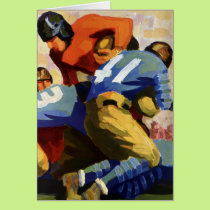 Vintage Sports, Football Players in a Game Card