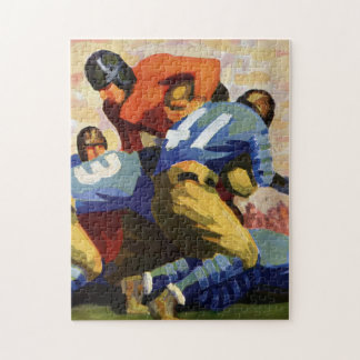 Vintage Sports, Football Players in a Game Jigsaw Puzzle