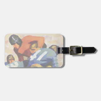 Vintage Sports, Football Players in a Game Luggage Tag