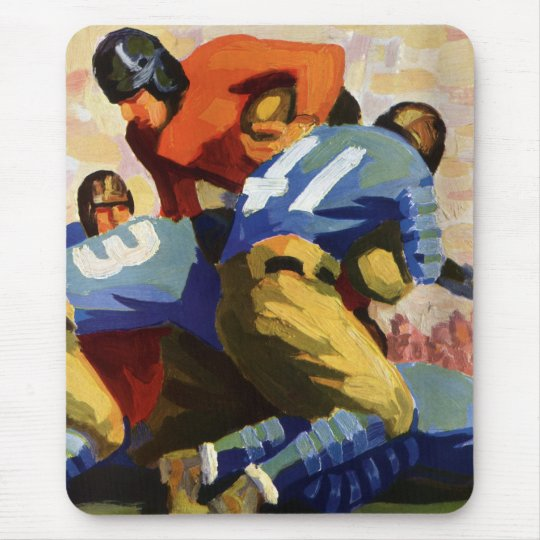 Vintage Sports, Football Players in a Game Mouse Pad