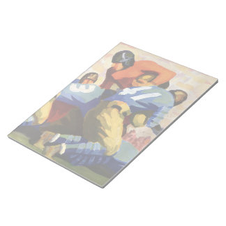 Vintage Sports, Football Players in a Game Notepad