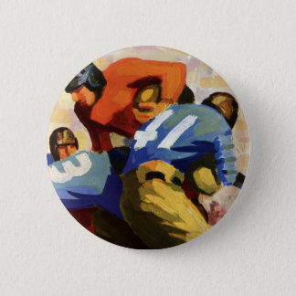 Vintage Sports, Football Players in a Game Pinback Button