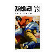 Vintage Sports, Football Players in a Game Postage