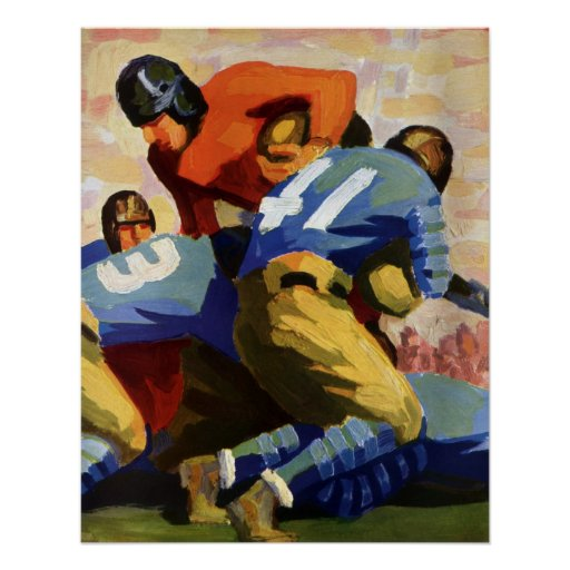 Vintage Sports, Football Players in a Game Poster