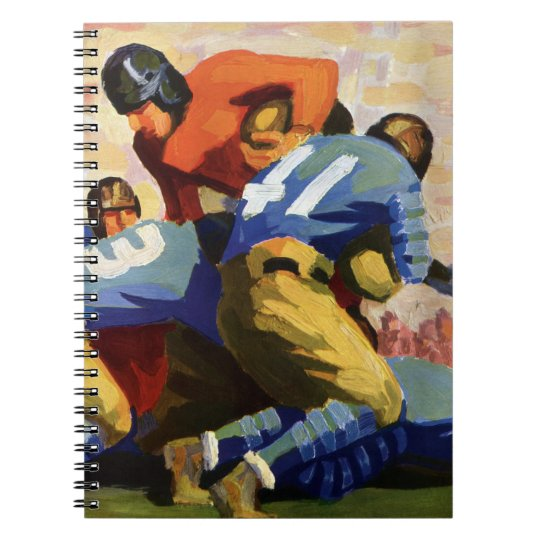 Vintage Sports, Football Players in a Game Spiral Notebook