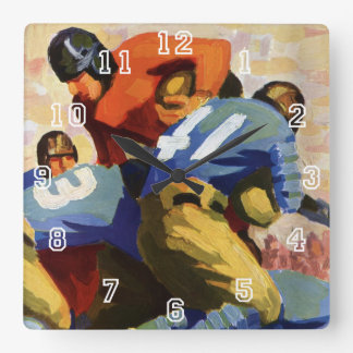 Vintage Sports, Football Players in a Game Square Wall Clock