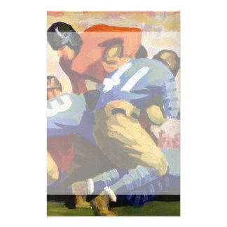 Vintage Sports, Football Players in a Game Stationery