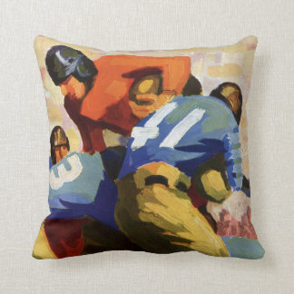 Vintage Sports, Football Players in a Game Throw Pillow