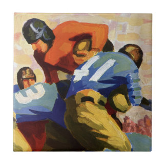 Vintage Sports, Football Players in a Game Tile