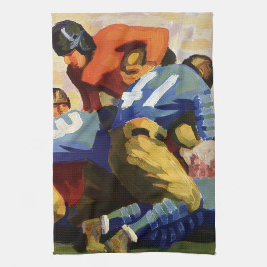 Vintage Sports, Football Players in a Game Towels