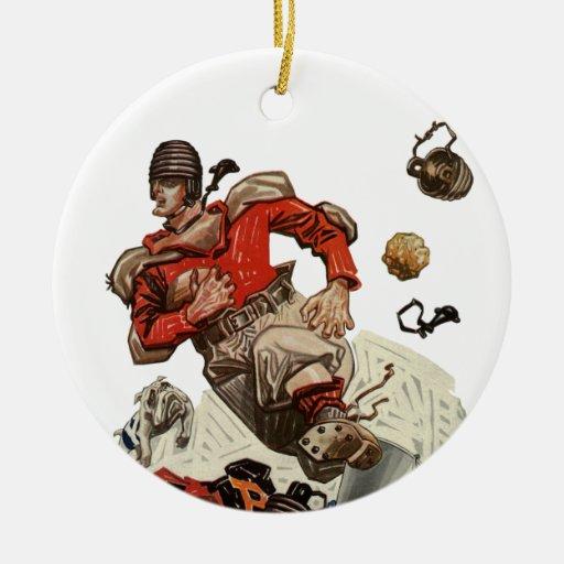 Vintage Sports Football Quarterback Player Running Ceramic Ornament