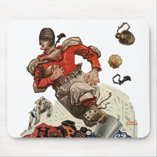 Vintage Sports Football Quarterback Player Running Mouse Pad