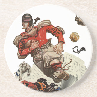 Vintage Sports Football Quarterback Player Running Sandstone Coaster