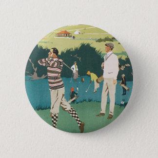 Vintage Sports Golf in Scotland, Golfers Golfing Pinback Button