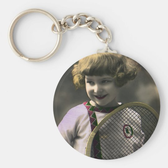 Vintage Sports, Happy Girl Holding a Tennis Racket Keychain