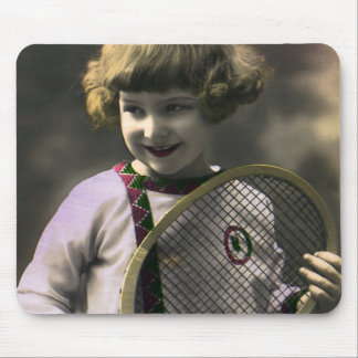 Vintage Sports, Happy Girl Holding a Tennis Racket Mouse Pad