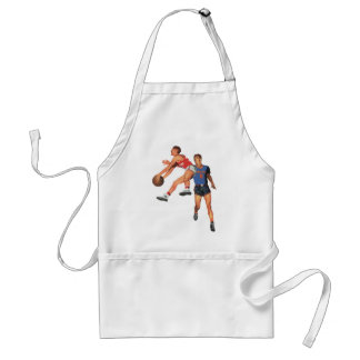 Vintage Sports, Men Basketball Players with Ball Adult Apron