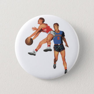 Vintage Sports, Men Basketball Players with Ball Button