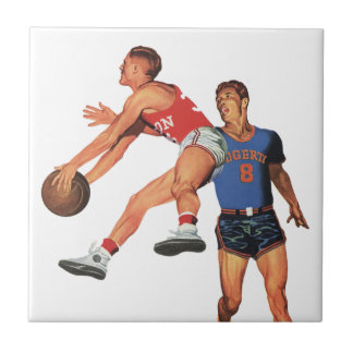 Vintage Sports, Men Basketball Players with Ball Ceramic Tile