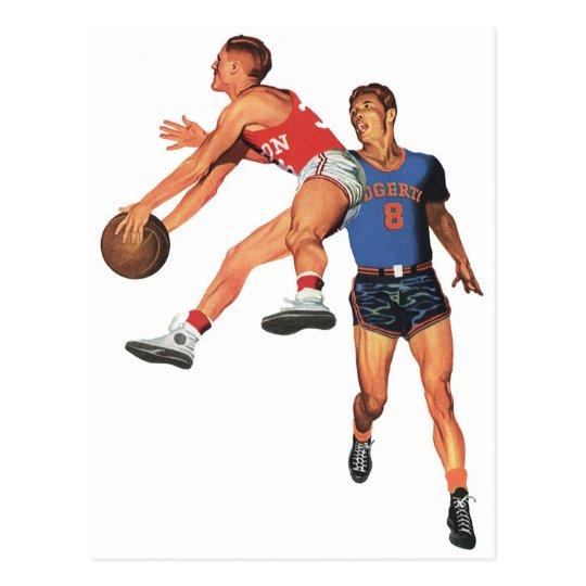 Vintage Sports, Men Basketball Players with Ball Postcard