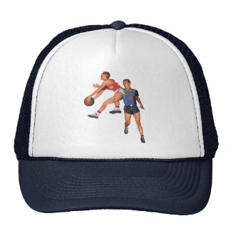 Vintage Sports, Men Basketball Players with Ball Trucker Hat