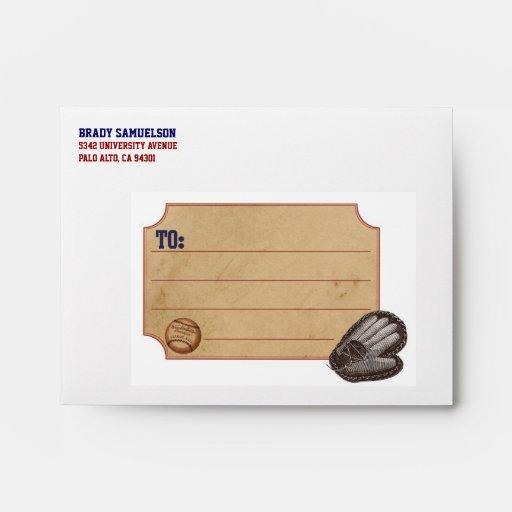 Vintage Sports Personalized Envelope - Baseball