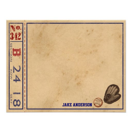 Vintage Sports Personalized Note Cards - Baseball