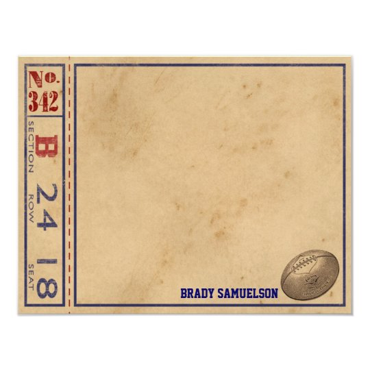 Vintage Sports Personalized Note Cards - Football