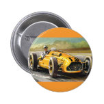 Vintage Sports Racing, Yellow Race Car Driver Pinback Buttons
