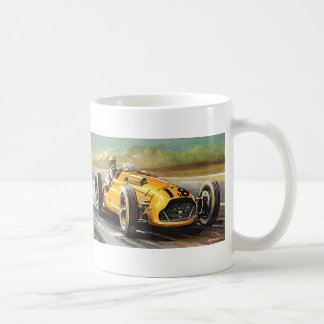 Vintage Sports Racing, Yellow Race Car Driver Coffee Mug