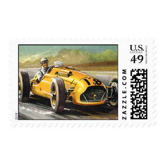 Vintage Sports Racing, Yellow Race Car Driver Postage Stamps