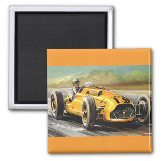 Vintage Sports Racing, Yellow Race Car Racer Magnet