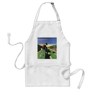 Vintage Sports, Sad Football Fan with Megaphone Adult Apron