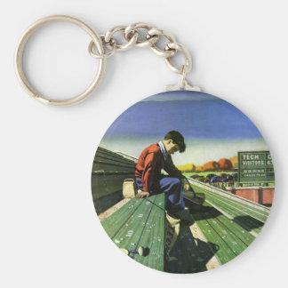 Vintage Sports, Sad Football Fan with Megaphone Keychain