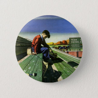 Vintage Sports, Sad Football Fan with Megaphone Pinback Button