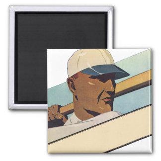 Vintage Sports, Stylized Baseball Player Batter Magnet