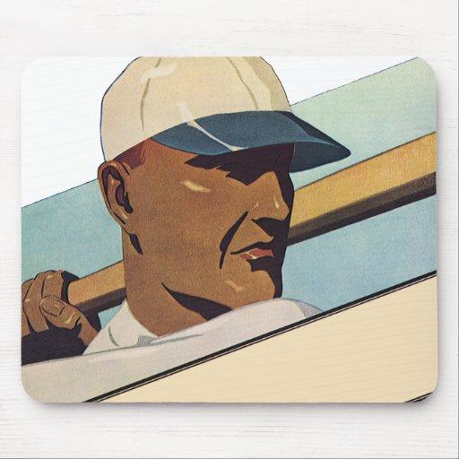 Vintage Sports, Stylized Baseball Player Batter Mouse Pad