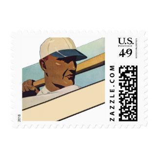 Vintage Sports, Stylized Baseball Player Batter Postage Stamp