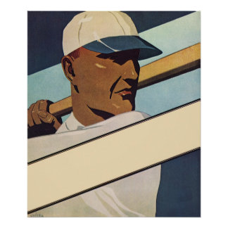 Vintage Sports, Stylized Baseball Player Batter Poster